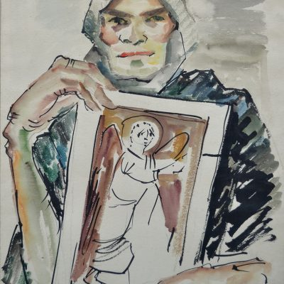 A boy with an icon, gouache 70 x 50 cm, 1989