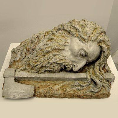 Nataša Božarova, The decapitated head of St John the Baptist, patinated plaster, 50 x 40 x 30 cm